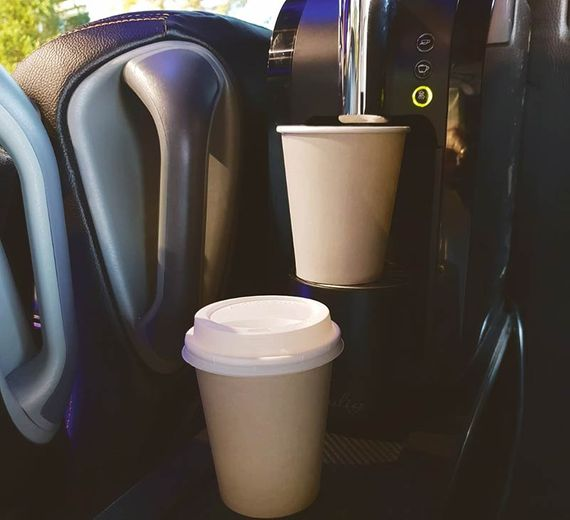 There is also a coffee maker in the bus